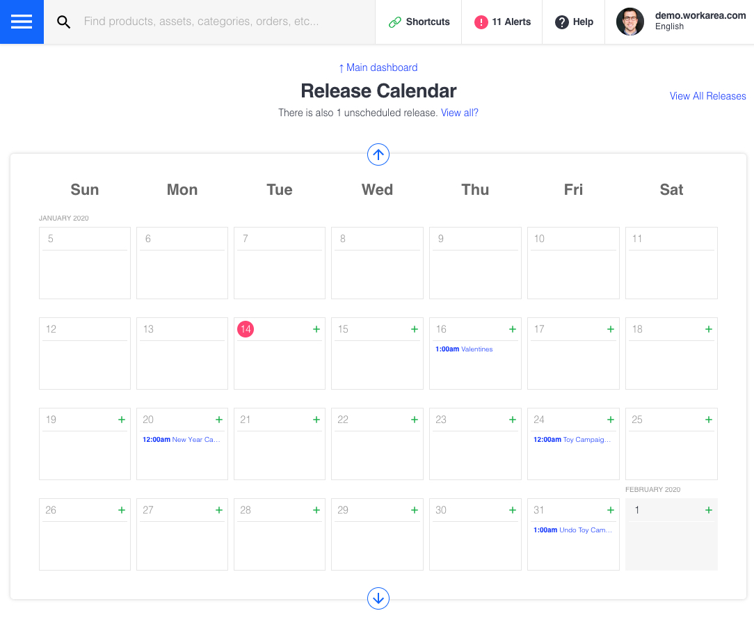 Workarea Site Planner - Release Calendar View